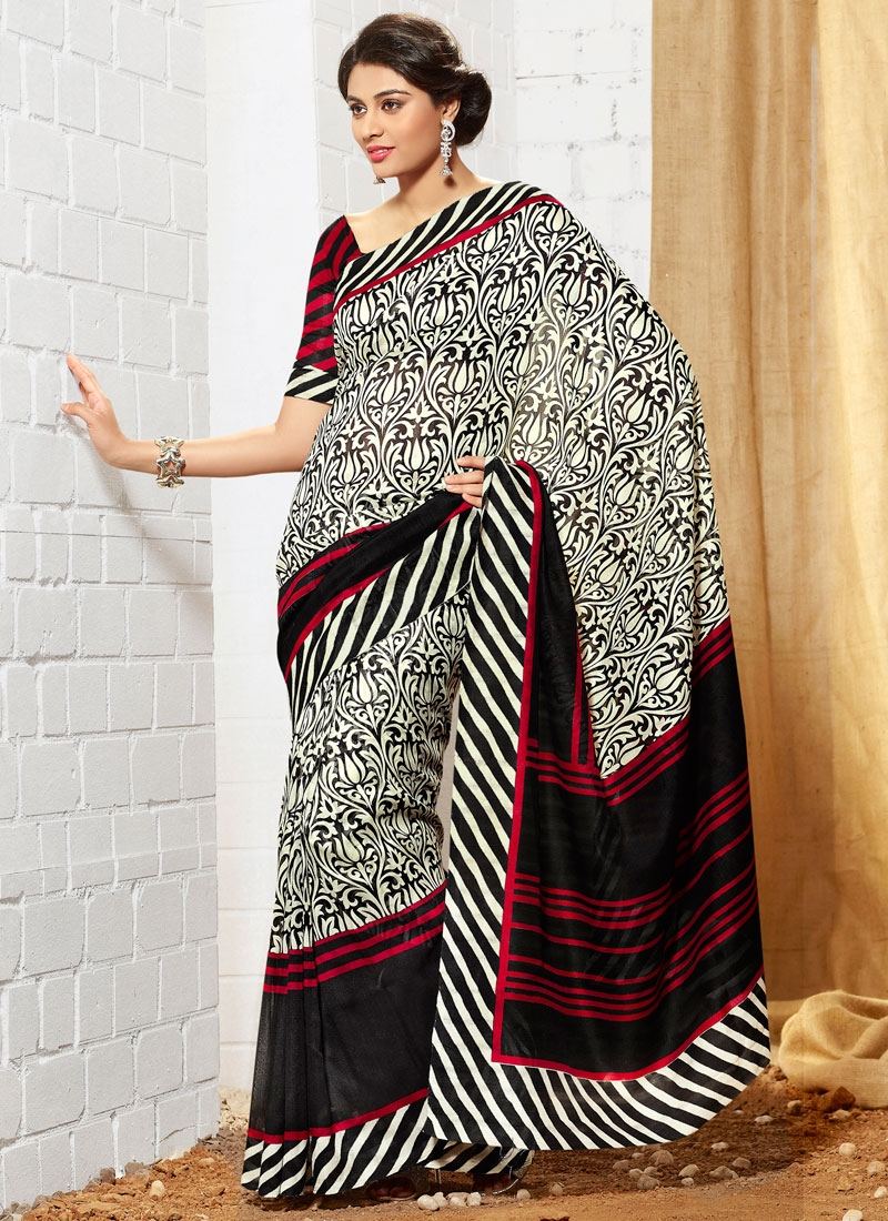 Sumptuous Black And Off White Color Casual Saree