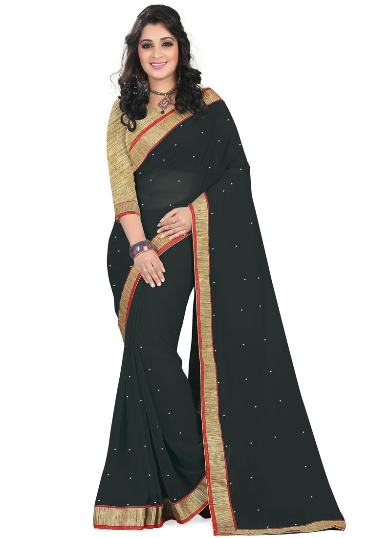 Sumptuous Black Color Lace Work Casual Saree