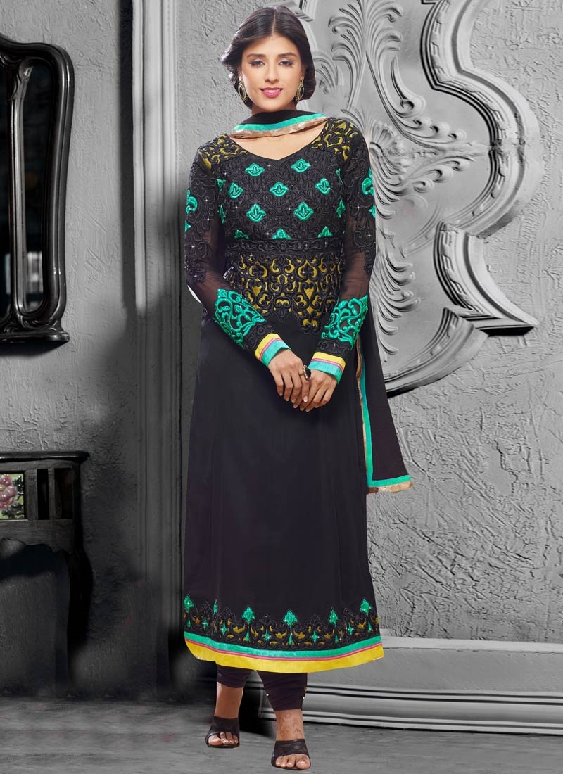 Sumptuous Black Color Stone Work Pakistani Salwar Kameez