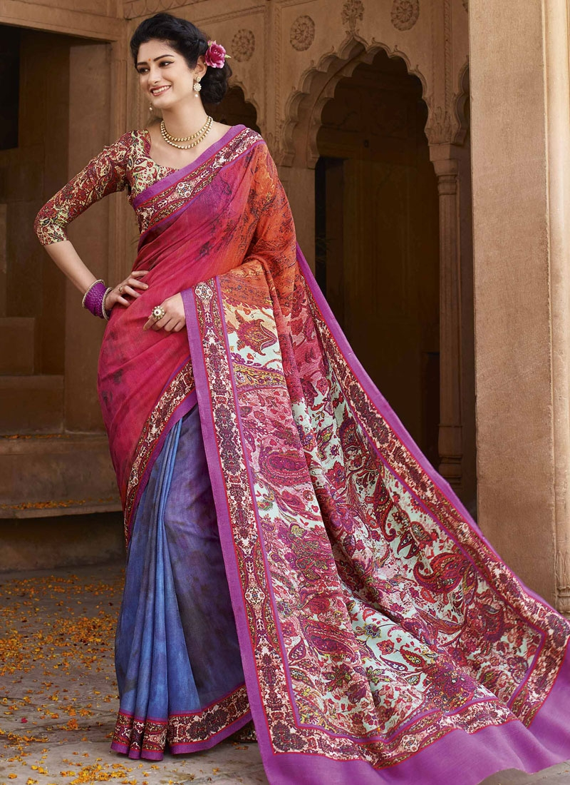 Sumptuous Blue And Rose Pink Color Art Silk Casual Saree
