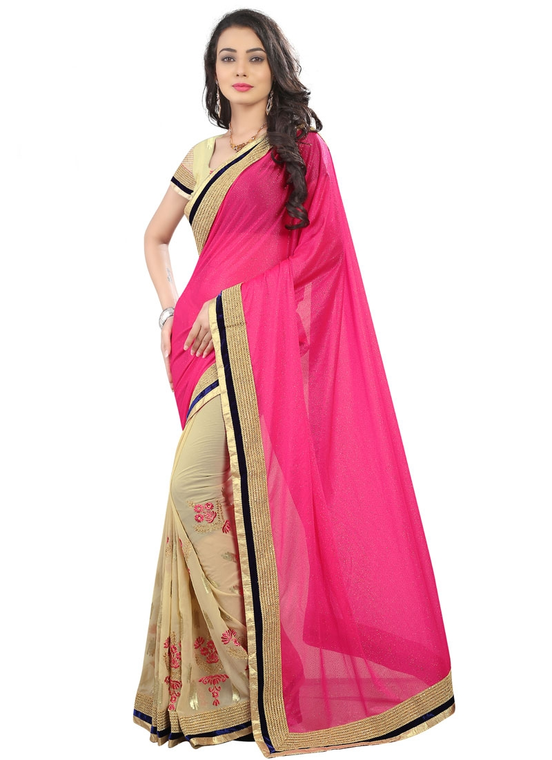 Sumptuous Booti And Sequins Work Half N Half Party Wear Saree
