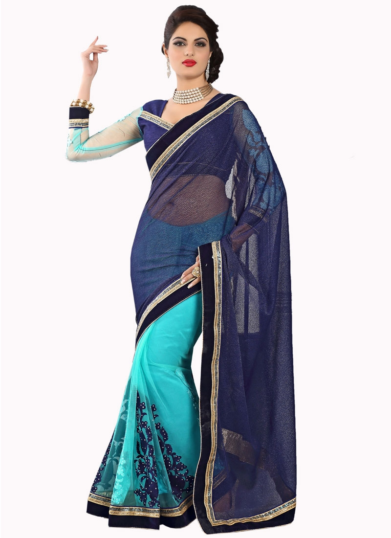 Sumptuous Booti And Stone Work Half N Half Party Wear Saree
