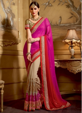 Sumptuous Booti Work Beige Color Half N Half Wedding Saree