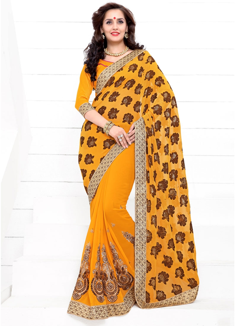 Sumptuous Booti Work Faux Georgette Party Wear Saree