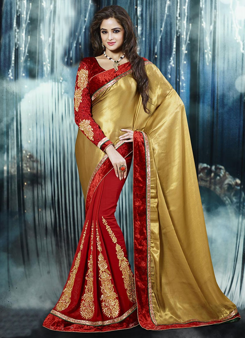 Sumptuous Brown And Red Color Half N Half Party Wear Saree