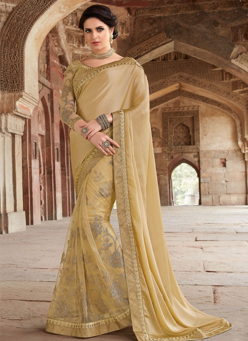 Sumptuous Cream Color Net Designer Saree