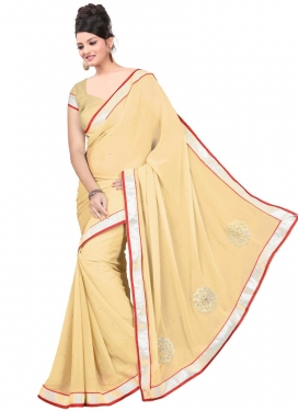 Sumptuous Cream Color Resham Work Casual Saree