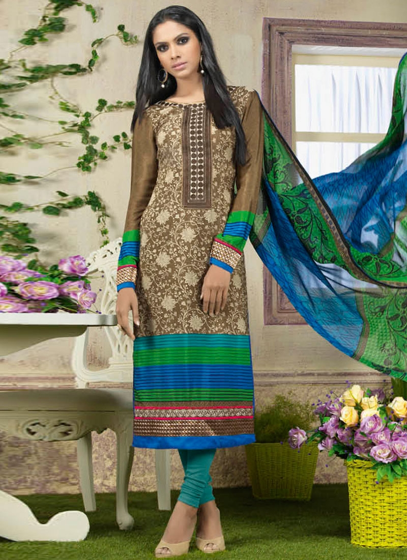 Sumptuous Crepe Silk Brown Color Churidar Suit