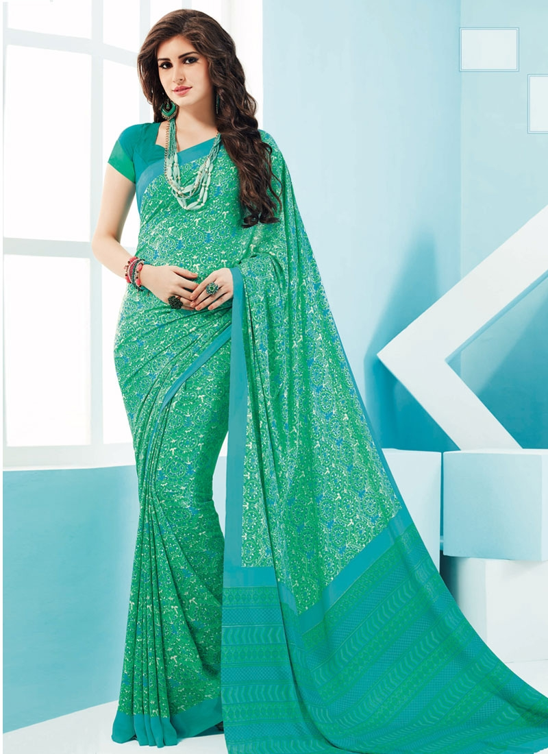 Sumptuous Crepe Silk Digital Print Work Casual Saree