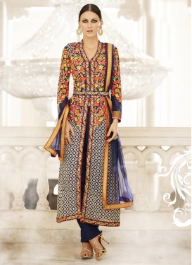 Sumptuous Embroidered Work Faux Georgette Trendy Designer Salwar Kameez