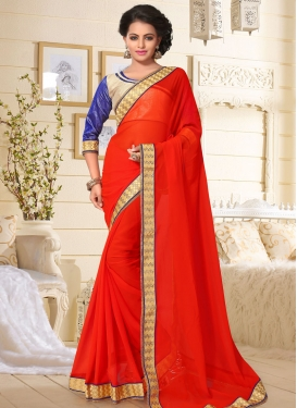 Sumptuous Faux Georgette Lace Work Classic Saree For Casual