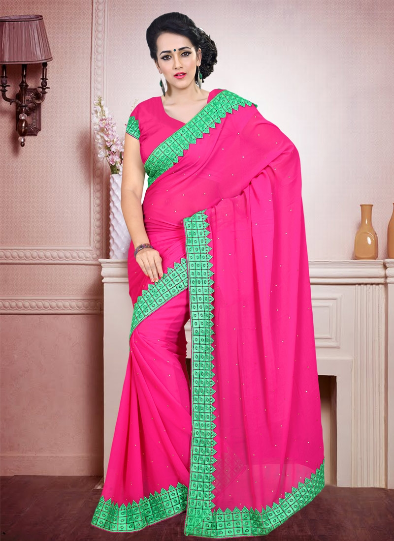 Sumptuous Faux Georgette Stone Work Casual Saree