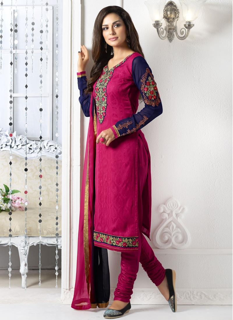 Sumptuous Floral And Karachi Work Churidar Salwar Suit