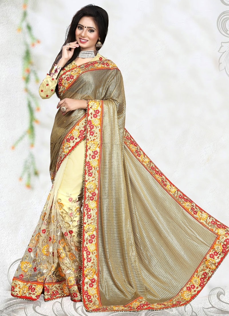 Sumptuous Floral Work Net Half N Half Wedding Saree