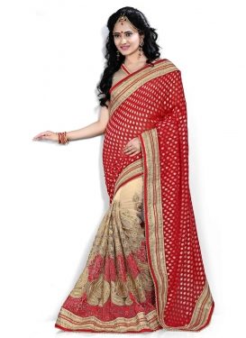 Sumptuous Georgette And Net Half N Half Bridal Saree