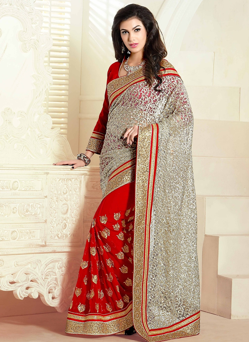 Sumptuous Jaal Work Half N Half Wedding Saree