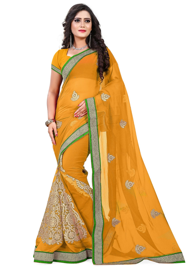 Sumptuous Lace And Resham Work Party Wear Saree