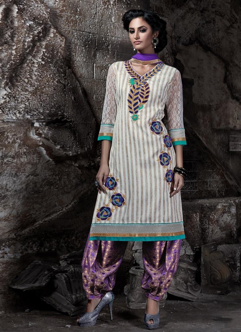 Sumptuous Lace And Resham Work Patiala Style Punjabi Suit