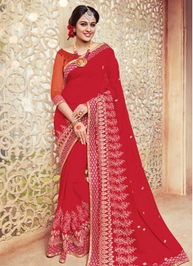 Sumptuous  Lace Work Faux Georgette Designer Contemporary Style Saree