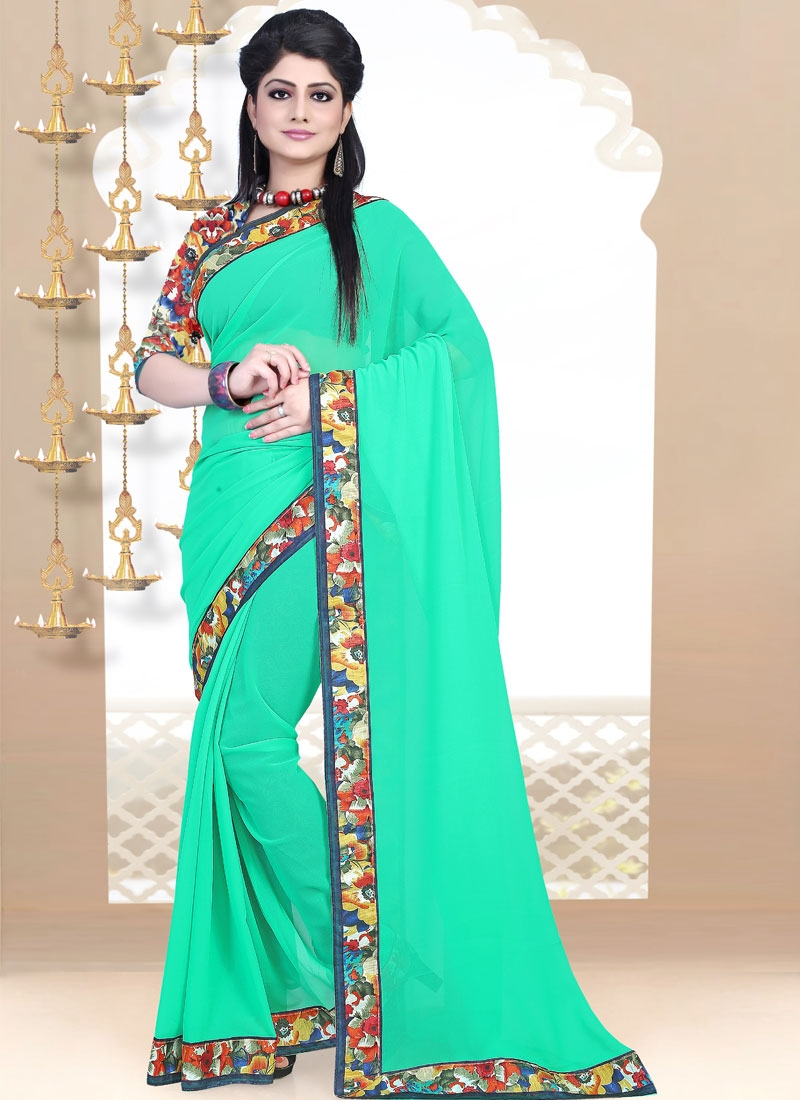 Sumptuous Lace Work Turquoise Color Casual Saree