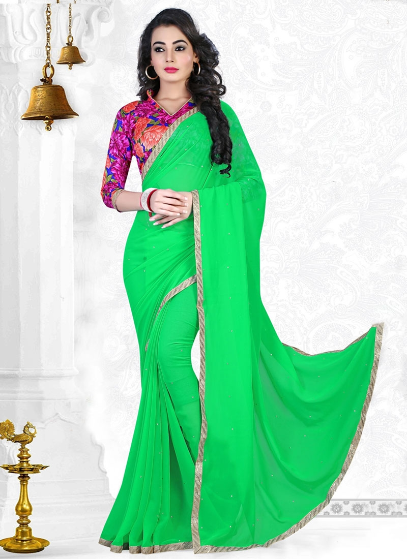 Sumptuous Mint Green Color Casual Saree