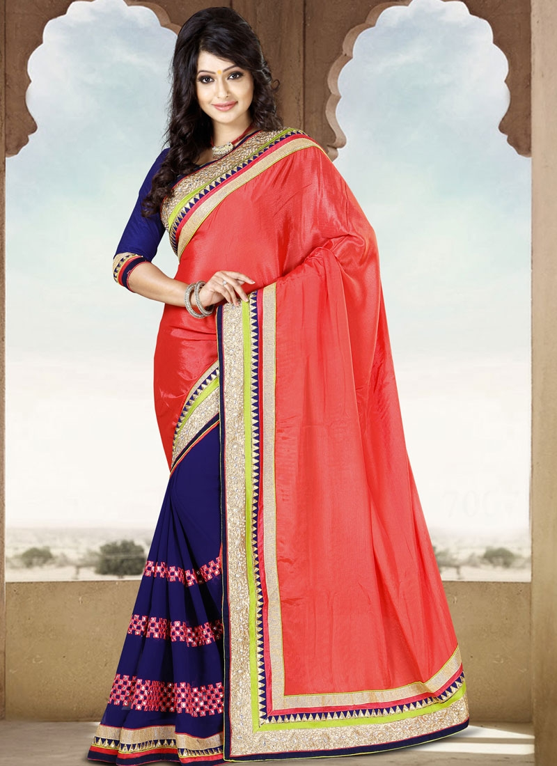 Sumptuous Navy Blue And Salmon Color Casual Saree