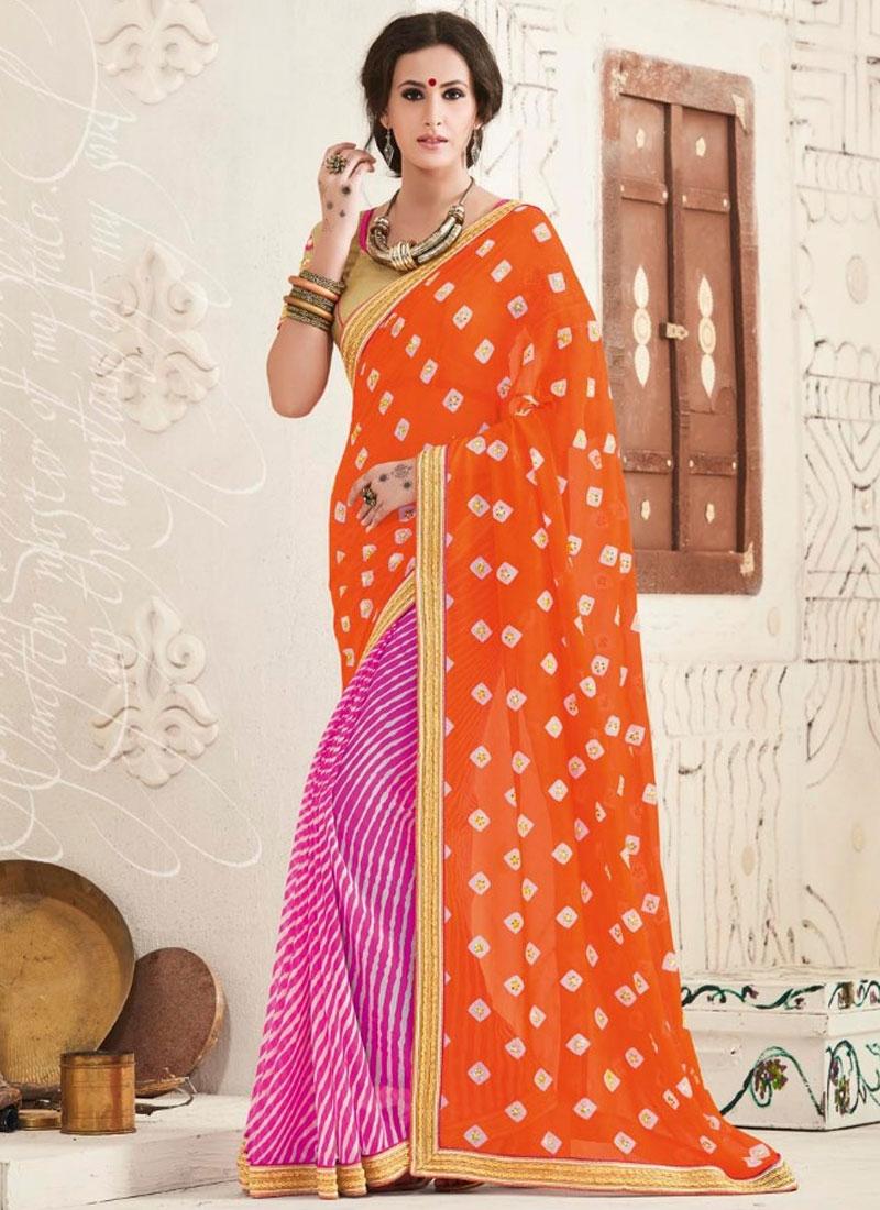 Sumptuous Orange Color Half N Half Party Wear Saree