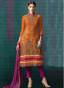 Sumptuous Orange Color Stone Work Pant Style Party Wear Suit
