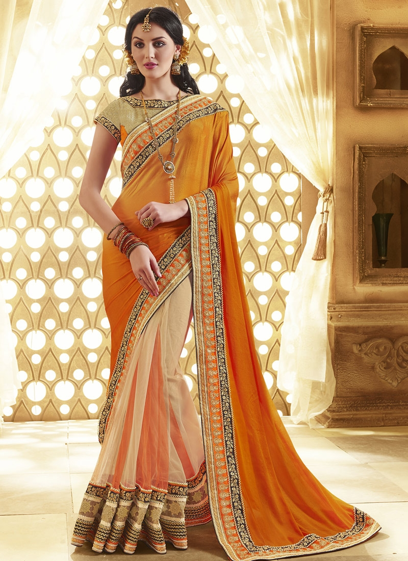 Sumptuous Patch Border And Beads Work Half N Half Designer Saree