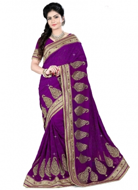 Sumptuous Purple Color Booti Work Designer Saree