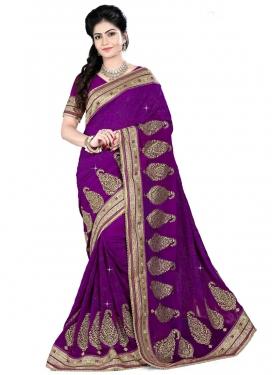 Sumptuous Purple Color Booti Work Designer Saree