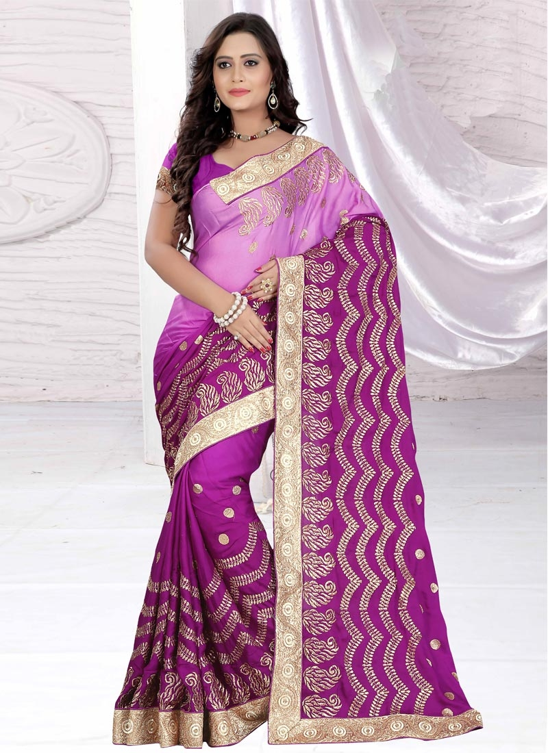 Sumptuous Purple Color Resham Work  Party Wear Saree