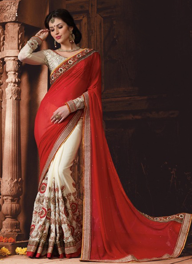 Sumptuous Red And Off White Color Half N Half Wedding Saree