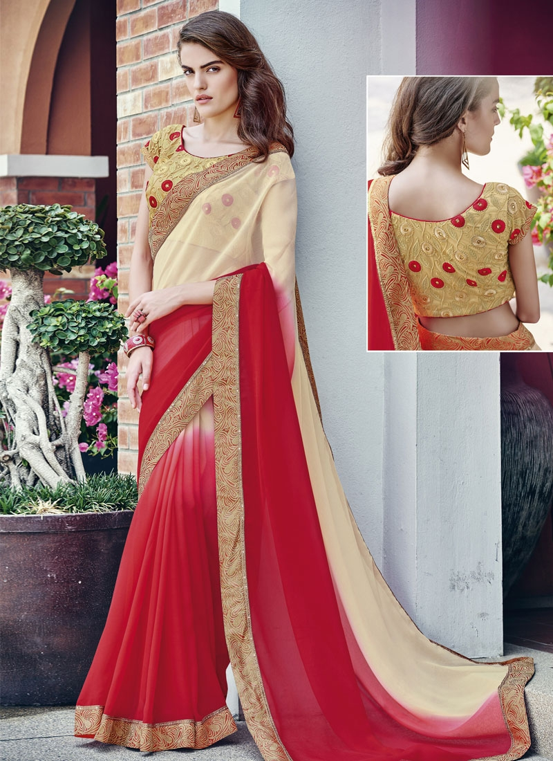 Sumptuous Red Color Faux Chiffon Party Wear Saree