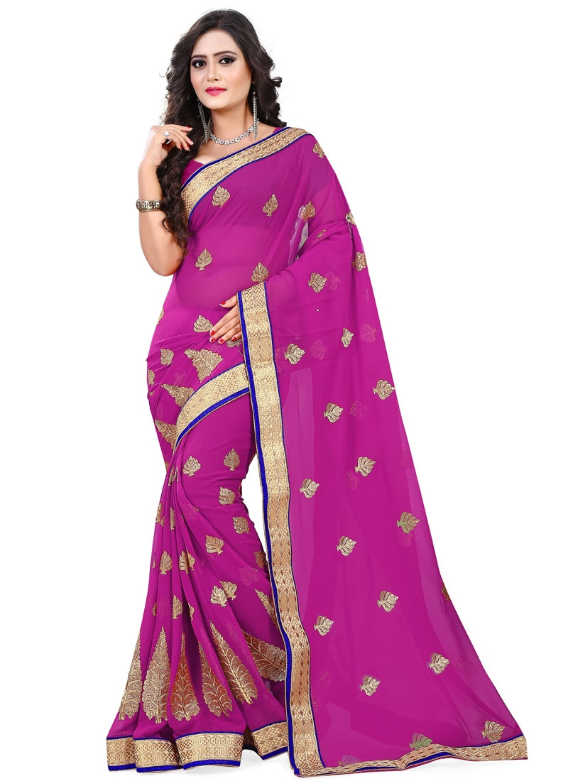 Sumptuous Resham And Lace Work Party Wear Saree