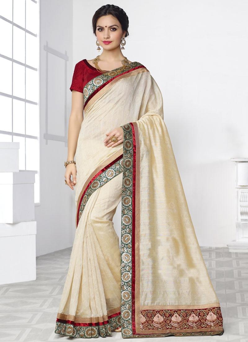 Sumptuous Resham Work Silk Party Wear Saree