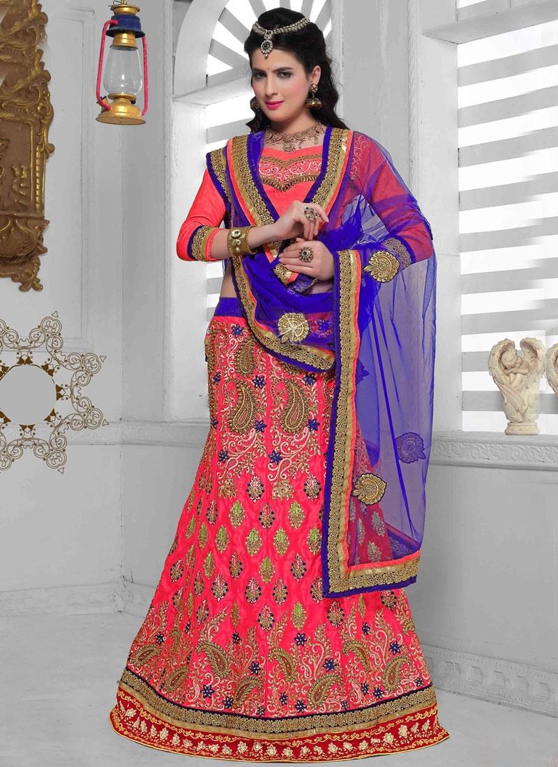 Sumptuous Rose Pink Color Net Wedding Lehenga Choli