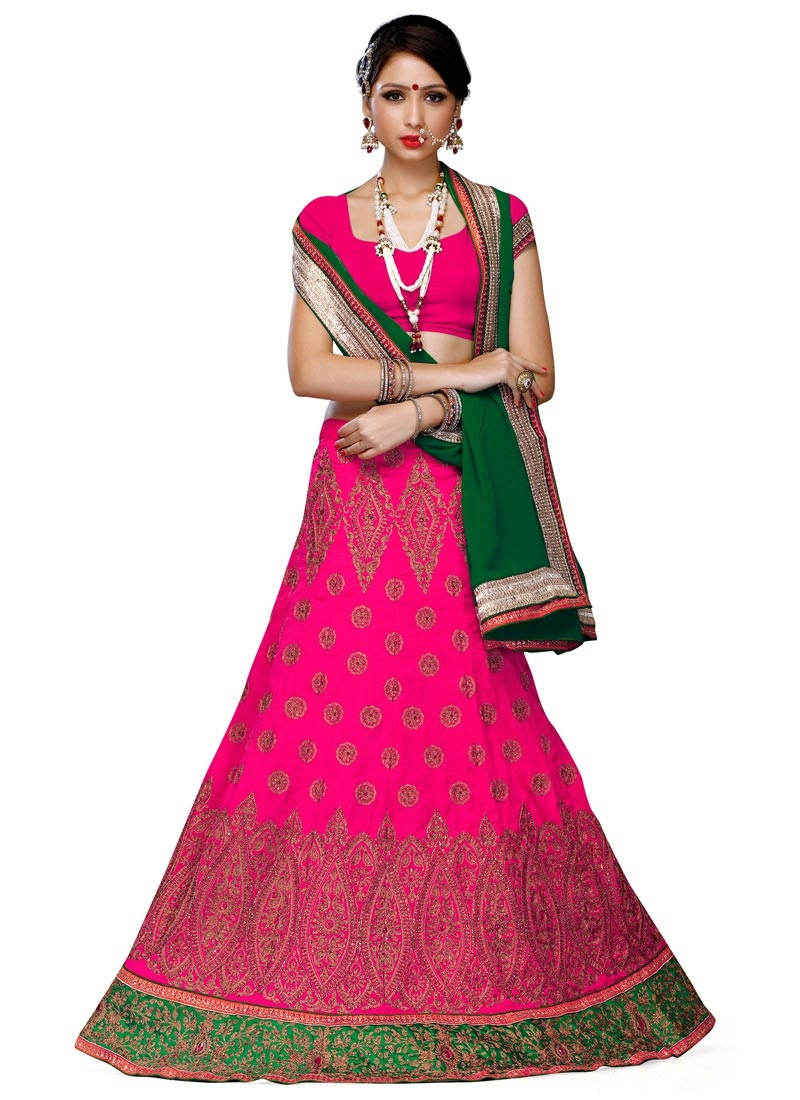 Sumptuous Rose Pink Color Stone Work Wedding Lehenga Choli