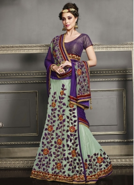 Sumptuous Sequins And Floral Work Lehenga Saree