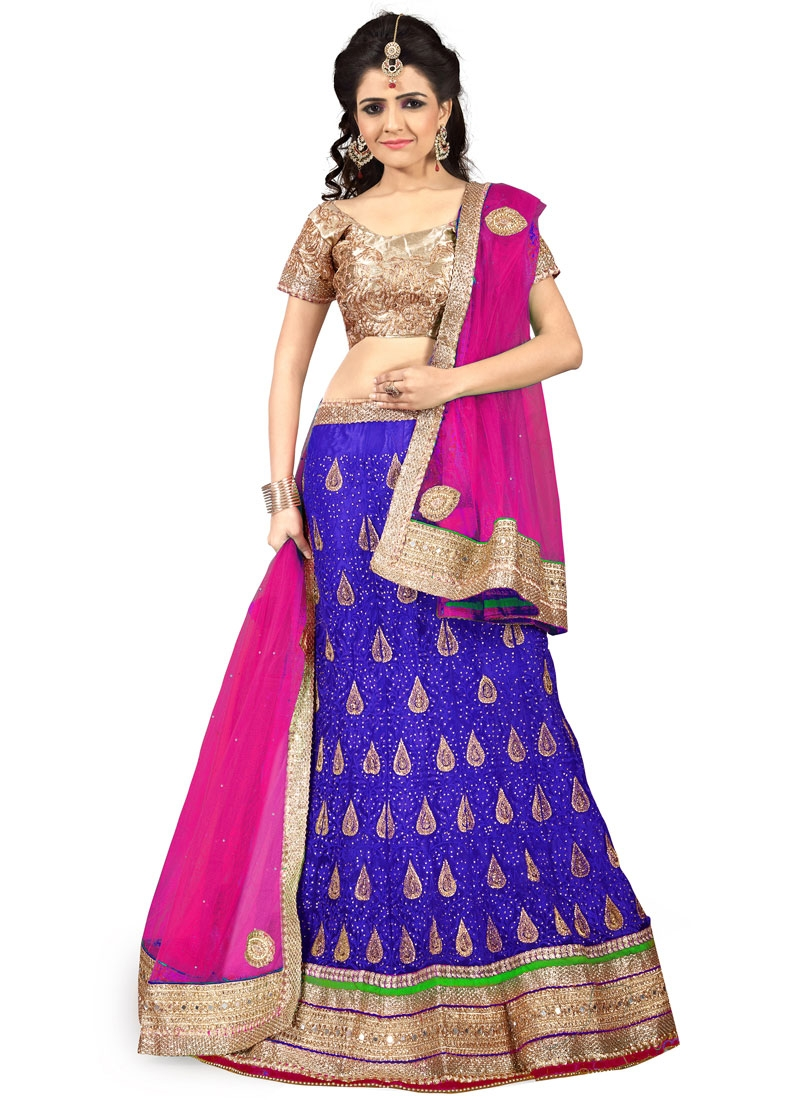 Sumptuous Stone Work Net Blue Color Wedding Lehenga Choli