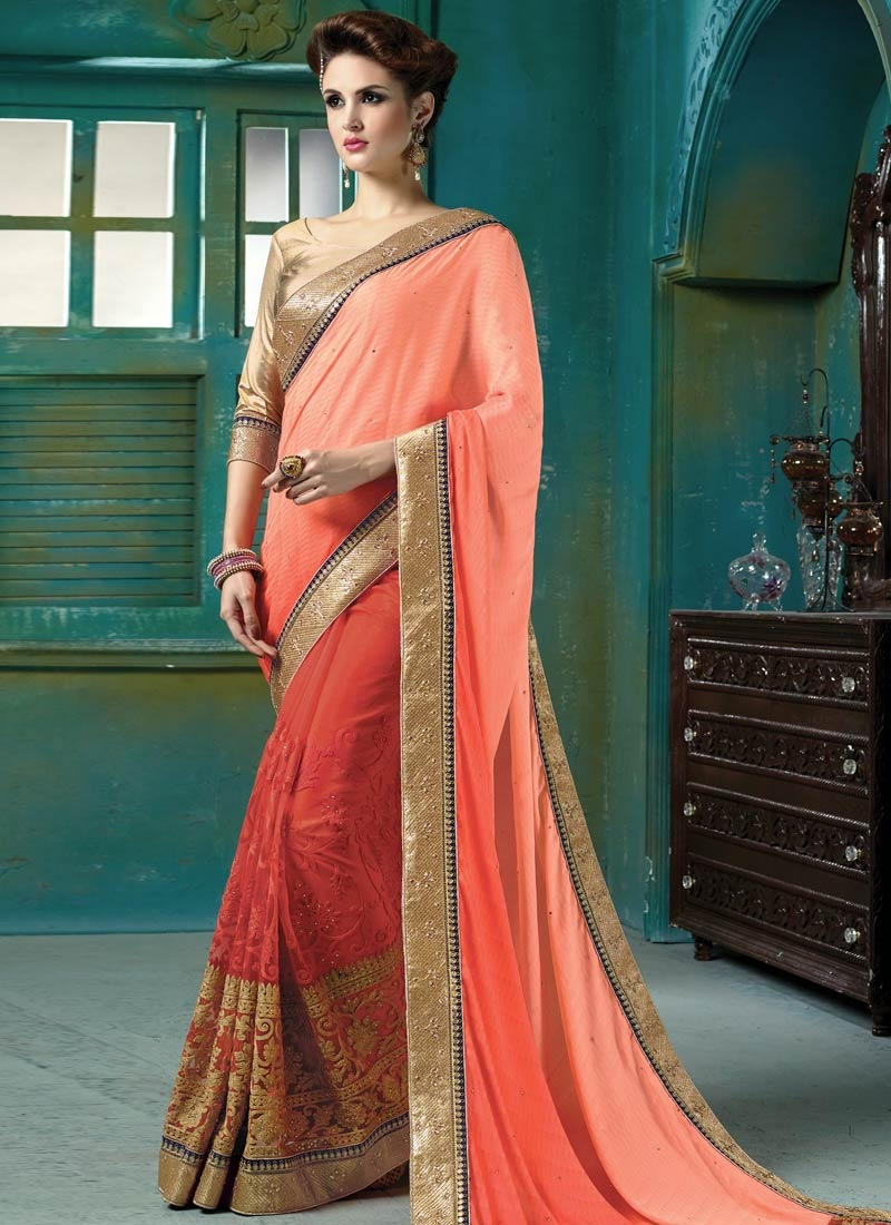 Sumptuous Stone Work Net Wedding Saree