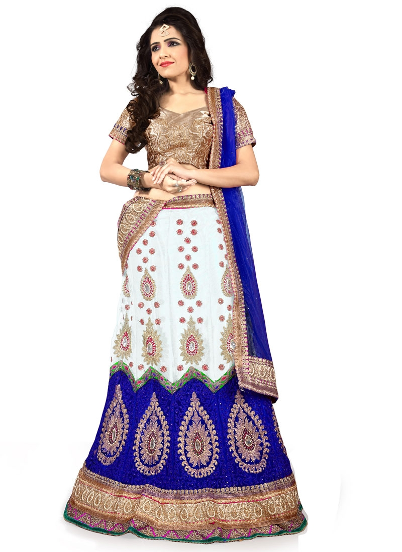 Sumptuous Stone Work Off White Color Designer Lehenga Choli