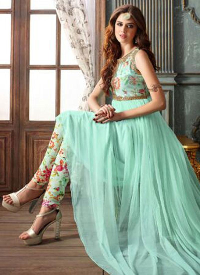 Sumptuous Turquoise Color Pant Style Designer Salwar Suit
