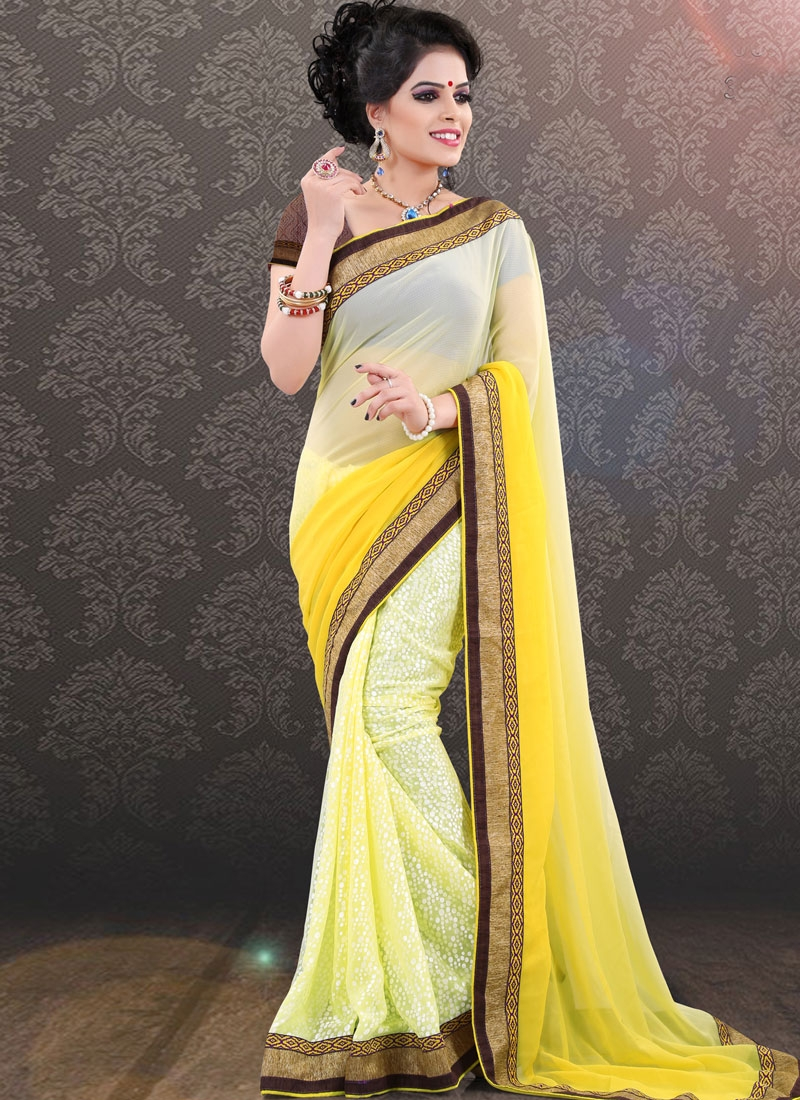 Sumptuous Yellow Color Party Wear Saree