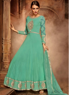 Sunshine Aqua Blue Faux Georgette Floor Length Designer Suit