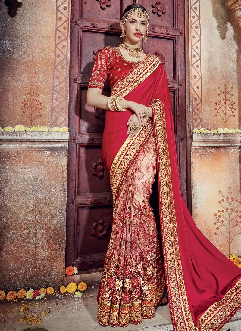 Sunshine Beige and Crimson Beads Work Half N Half Designer Saree