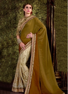 Sunshine Embroidered Work  Net Half N Half Saree