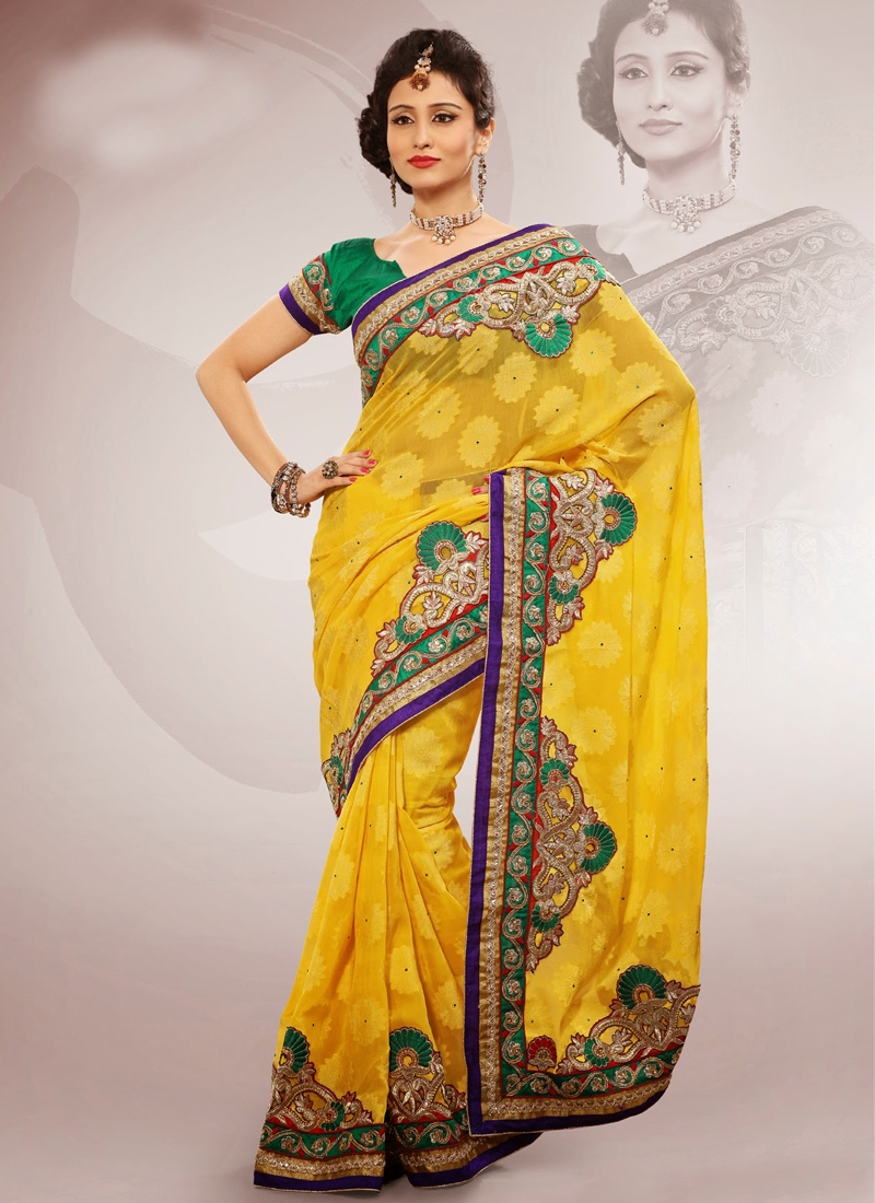 Sunshine Resham Work Chiffon Party Wear Saree
