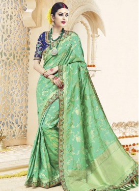 Sunshine Satin Silk Embroidered Work Traditional Saree