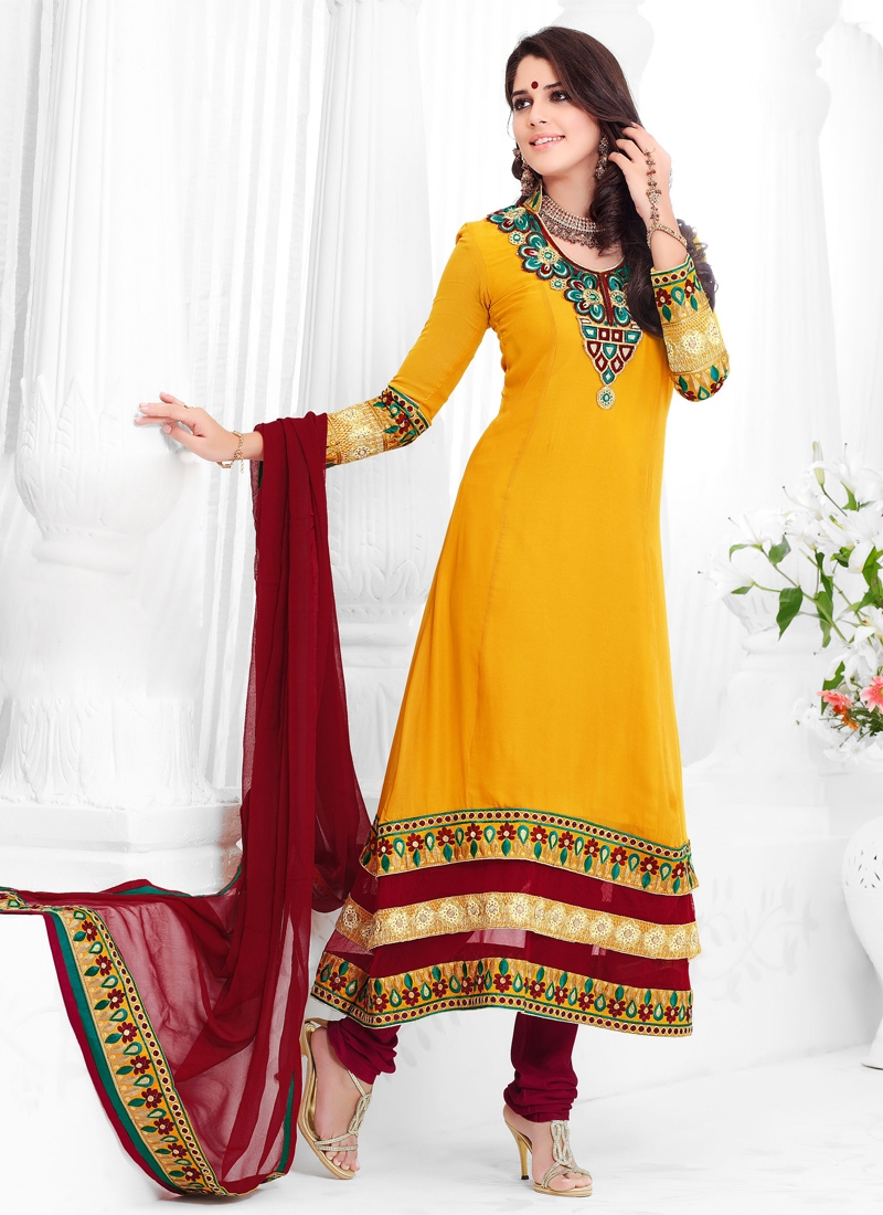 Sunshine Yellow And Maroon Party Wear Suit
